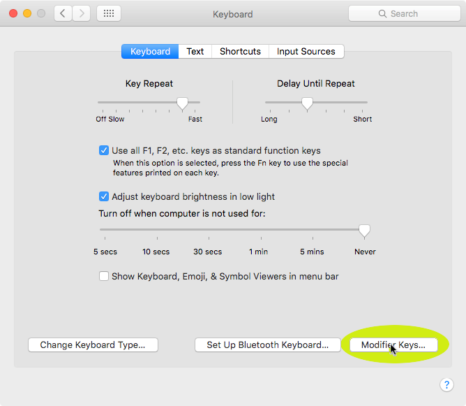 Windows keyboard on a Mac – changing Command Key Assignment